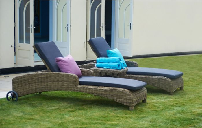 Bridgman 2 Mayfair Sun Loungers With Square Side Table
