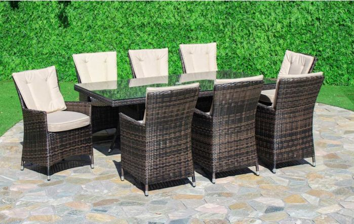Maze Rattan LA Rectangular 8 Seater Brown Rattan Garden Dining Set
