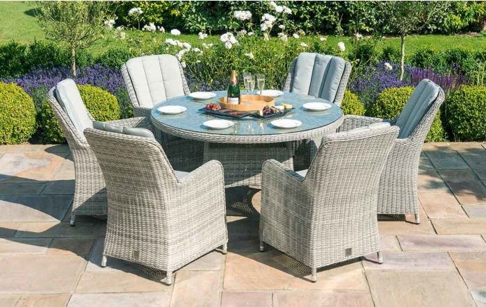 Maze Rattan Oxford 6 Seat Round Dining Set With Venice Chairs