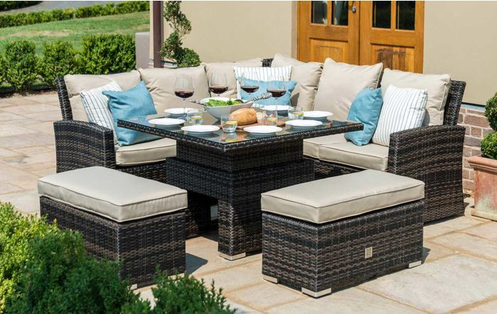 Maze Rattan Richmond Casual Corner Dining Set with Adjustable Table - Brown