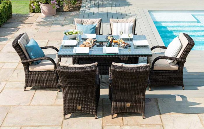 Maze Rattan Texas Rectangular Brown Six Seater Garden Dining Set