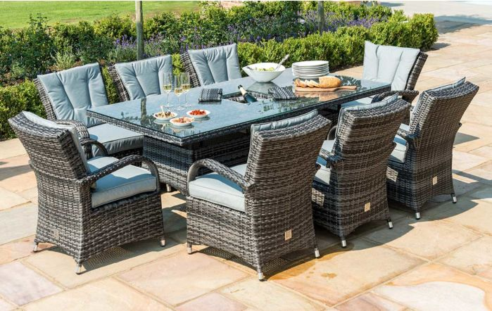 Maze Rattan Texas Rectangular Grey Eight Seater Rattan Garden Dining Set