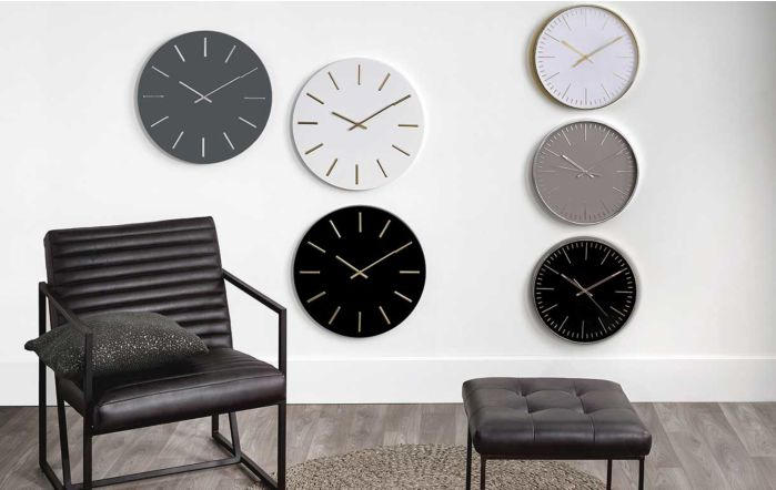 Pacific Lifestyle Matt White and Gold Detail Round Metal Wall Clock