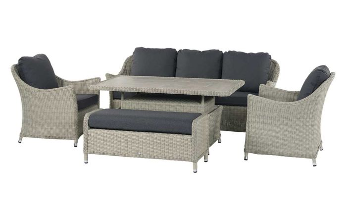 Bramblecrest Monterey Grey 3 Seat Sofa Set with Rectangular Adjustable Ceramic Top Table