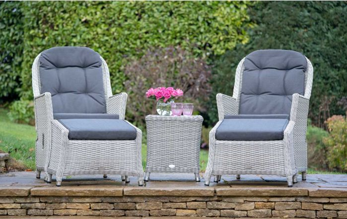Bramblecrest Monterey Grey Reclining Set with Ceramic Top Table