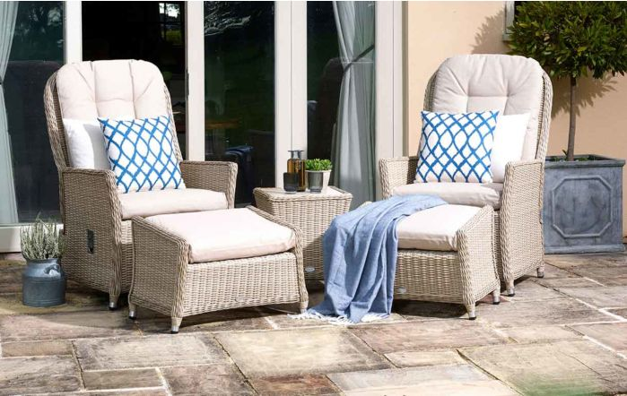 Bramblecrest Ascot Recliner Set with 2 Footstools and Side Table with Ceramic Top