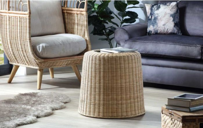Natural Woven Rattan Round Side Table