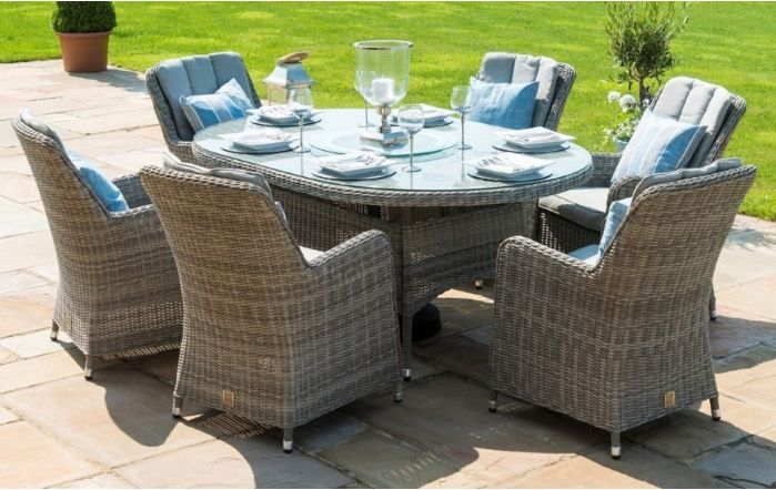 Maze Rattan Oxford 6 Seat Oval Dining Set With Venice Chairs
