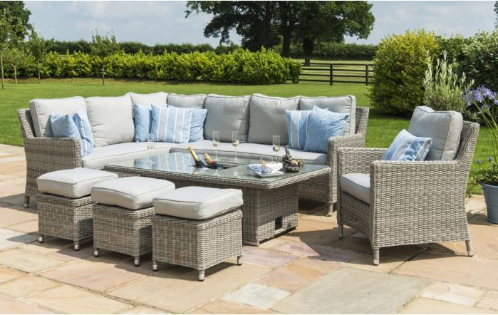 Maze Rattan Oxford Corner Dining Set with Chair & Adjustable Table