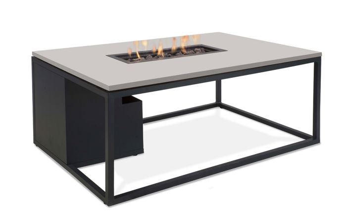 Pacific Lifestyle Cosiloft 120cm Black Steel and Grey Stone Effect Firepit