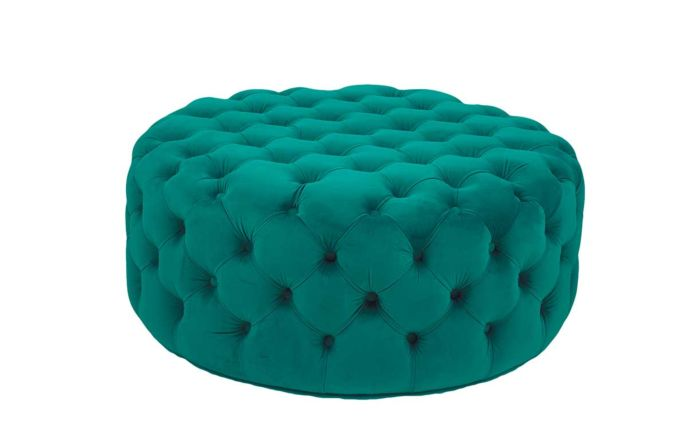 Pacific Lifestyle Velvet Round Buttoned Pouffe-Forest Green