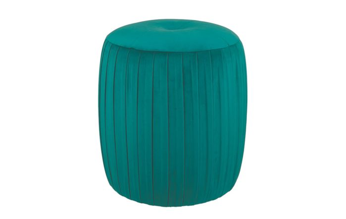 Pacific Lifestyle Velvet Buttoned Cylinder Pouffe-Forest Green
