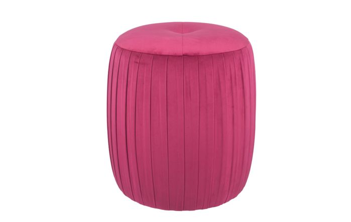 Pacific Lifestyle Velvet Buttoned Cylinder Pouffe-Raspberry