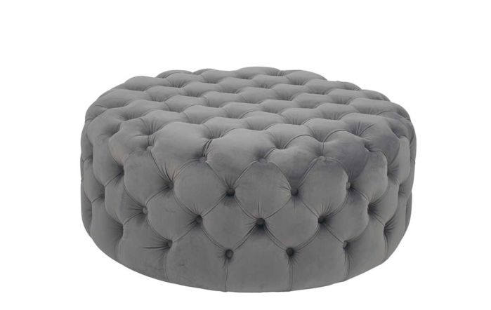 Pacific Lifestyle Velvet Round Buttoned Pouffe-Dove Grey