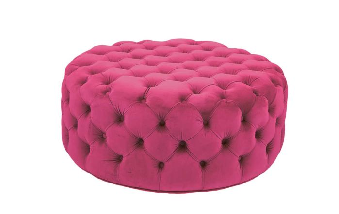 Pacific Lifestyle Velvet Round Buttoned Pouffe-Raspberry