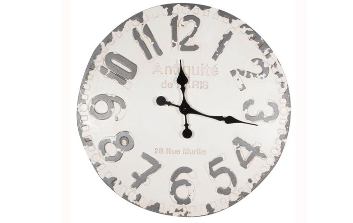 Pacific Lifestyle Antique White & Grey Round Wall Clock