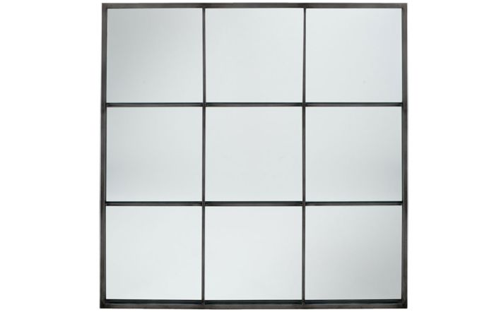 Pacific Lifestyle Dark Grey Metal 9 Section Square Wall Mirror