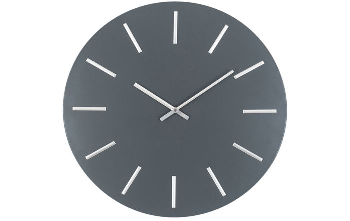 Pacific Lifestyle Matt Grey and Silver Detail Round Metal Wall Clock