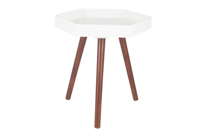 Pacific Lifestyle Halston White & Brown Pine Wood Hexagon Table