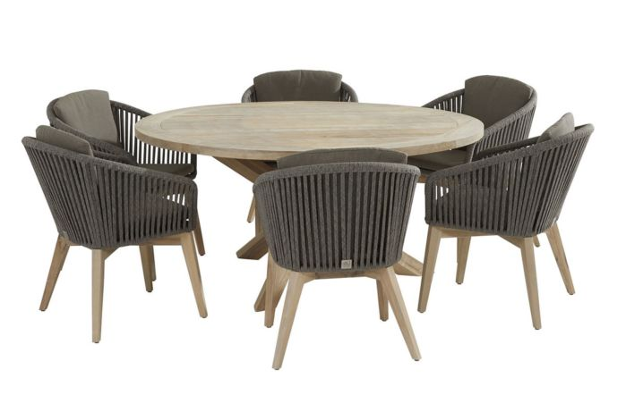 4 Seasons Outdoor Santander Rope & Louvre Teak Dining set