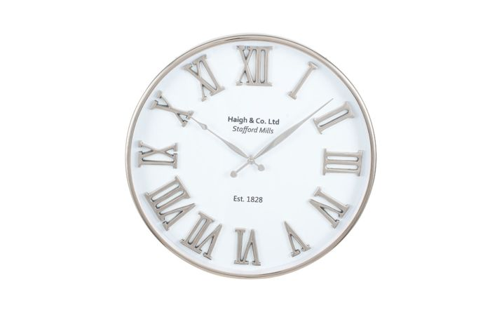 Pacific Lifestyle Silver and White Metal Round Wall Clock