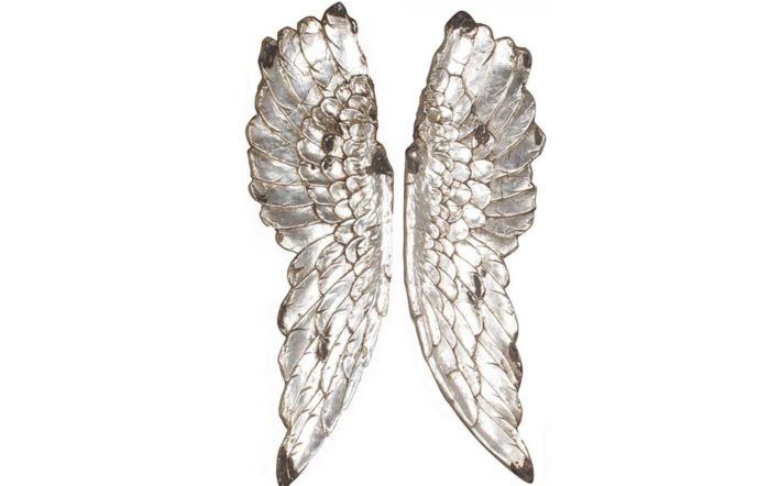 Antique Polyresin Angel Wings Wall Art-Silver