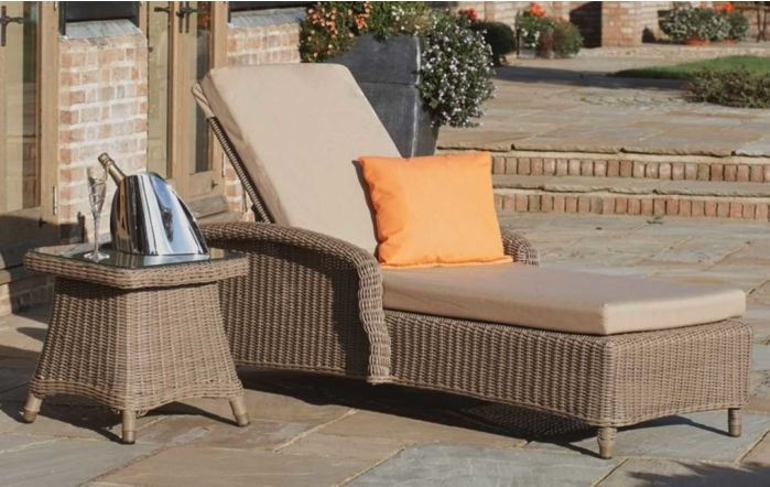 Bridgman Kensington Sun Lounger With Square Side Table-Beige Waterproof Cushions