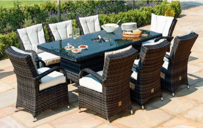 Maze Rattan Texas Rectangular Brown Eight Seater Rattan Garden Dining Set