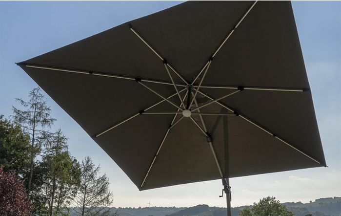 Bramblecrest Truro 3M Square LED Grey Parasol inc Granite Base -  FREE cover