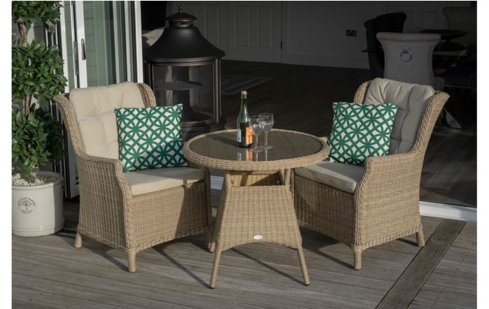 Bramblecrest Ascot 80cm Round Bistro Table with 2 Armchairs