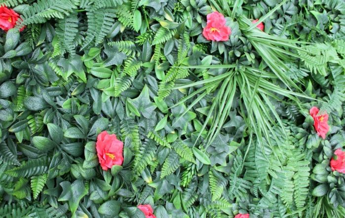 Wonder-Wal Artificial Wall Shutter Grass With Hibiscus-1m x 1m