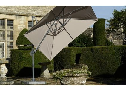 Bramblecrest Chichester 3M Square Crank Handle Parasol Including Granite Base And Cover